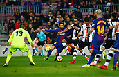 7th January 2018, Camp Nou, Barcelona, Spain; La Liga football, Barcelona versus Levante; Messi from FC Barcelona fighting for the ball with Iván López Álvarez from Levante in the Levante area