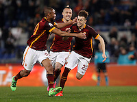 Calcio, Serie A: Roma vs Frosinone. Roma, stadio Olimpico, 30 gennaio 2016.<br /> Roma&rsquo;s Stephan El Shaarawy, right, celebrates with teammates Seydou Keita, left, and Radja Nainggolan, after scoring during the Italian Serie A football match between Roma and Frosinone at Rome's Olympic stadium, 30 January 2016.<br /> UPDATE IMAGES PRESS/Isabella Bonotto