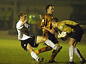 25/03/2003                   Copright Pic : James Stewart.File Name : stewart-alloa v ayr 09.JAMES GRADY GOES IN LATE ON ALLOA KEEPER JAMES EVANS....James Stewart Photo Agency, 19 Carronlea Drive, Falkirk. FK2 8DN      Vat Reg No. 607 6932 25.Office     : +44 (0)1324 570906     .Mobile  : +44 (0)7721 416997.Fax         :  +44 (0)1324 570906.E-mail  :  jim@jspa.co.uk.If you require further information then contact Jim Stewart on any of the numbers above.........