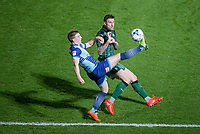 Dayle Southwell of Wycombe Wanderers controls the ball under pressure from Sonny Bradley of Plymouth Argyle during the Sky Bet League 2 match between Wycombe Wanderers and Plymouth Argyle at Adams Park, High Wycombe, England on 14 March 2017. Photo by Andy Rowland / PRiME Media Images.