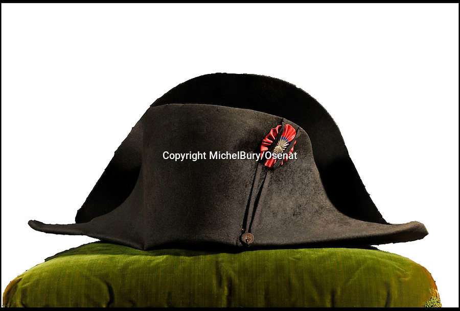 BNPS.co.uk (01202 558833)<br /> Pic: MichelBury/Osenat/BNPS<br /> <br /> ***Please Use Full Byline***<br /> <br /> A hat once worn by French ruler Napoleon. <br /> <br /> An iconic hat once owned and worn by Napoleon Bonaparte 200 years ago has emerged for sale for &pound;500,000.<br /> <br /> The black felt bicorne hat the legendary French dictator was famed for wearing sideways on was one of about 120 he had during his reign from 1804 to 1815.<br /> <br /> It is to be sold later this week in France.