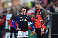 Freddie Burns of Bath Rugby speaks with Alex Brown of Gloucester Rugby during the pre-match warm-up. Gallagher Premiership match, between Gloucester Rugby and Bath Rugby on April 13, 2019 at Kingsholm Stadium in Gloucester, England. Photo by: Patrick Khachfe / Onside Images