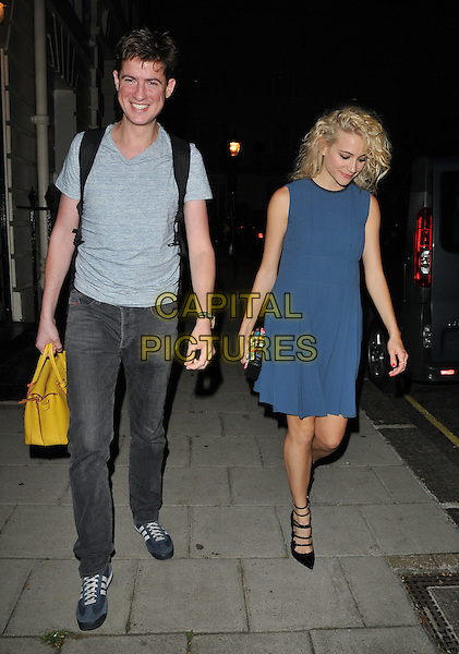 Matt Barber &amp; Victoria Louise &quot;Pixie&quot; Lott depart from the stage door after the &quot;Breakfast at Tiffany's&quot; evening performance, Theatre Royal Haymarket, Suffolk Street, London, England, UK, on Saturday 30 July 2016.<br /> CAP/CAN<br /> &copy;CAN/Capital Pictures