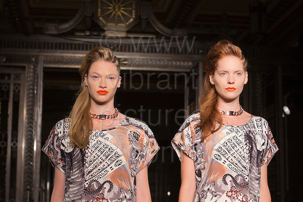 16 September 2013, London, UK. Models walk the runway at the Tabernacle Twins off-schedule fashion show during London Fashion Week at Fashion Scout/Freemason's Hall. Photo: CatwalkFashion/Alamy Live News