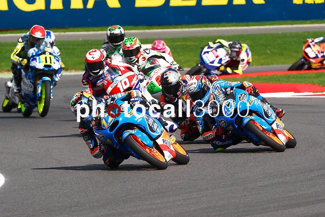 hertz british grand prix during the world championship 2014.<br /> Silverstone, england<br /> August 31, 2014. <br /> Race Moto3<br /> 42-alex marquez<br /> 12-alex rins<br /> 33-enea bastianini<br /> PHOTOCALL3000/ RME