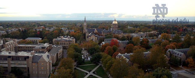 Panoramic image of campus from atop the Hesburgh Library.