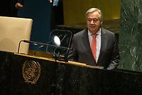 Nova York (EUA), 24/09/2019 - Assembléia Geral / ONU - Antonio Guterres , Secretario Geral da Onu durante abertura da 74ª Assembleia Geral da Organização das Nações Unidas (ONU)  em Nova York nos Estados Unidos nesta terça-feira, 24.  (Foto: William Volcov/Brazil Photo Press/Agencia O Globo) Mundo