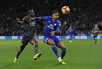 Cardiff City's Josh Murphy under pressure from Leicester City's Ricardo Pereira<br /> <br /> Photographer Kevin Barnes/CameraSport<br /> <br /> The Premier League -  Cardiff City v Leicester City - Saturday 3rd November 2018 - Cardiff City Stadium - Cardiff<br /> <br /> World Copyright © 2018 CameraSport. All rights reserved. 43 Linden Ave. Countesthorpe. Leicester. England. LE8 5PG - Tel: +44 (0) 116 277 4147 - admin@camerasport.com - www.camerasport.com