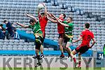 Gavin O'Grady and Stephen O'Sullivan Glenbeigh Glencar in action against Ciaran Gourley and Thomas Bloomer Rock Saint Patricks in the Junior Football All Ireland Final in Croke Park on Sunday.