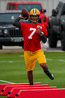 Green Bay Packers quarterback Brett Hundley (7) during an Organized Team Activity on May 23, 2017 at Clarke Hinkle Field in Green Bay, Wisconsin.  (Brad Krause/Krause Sports Photography)