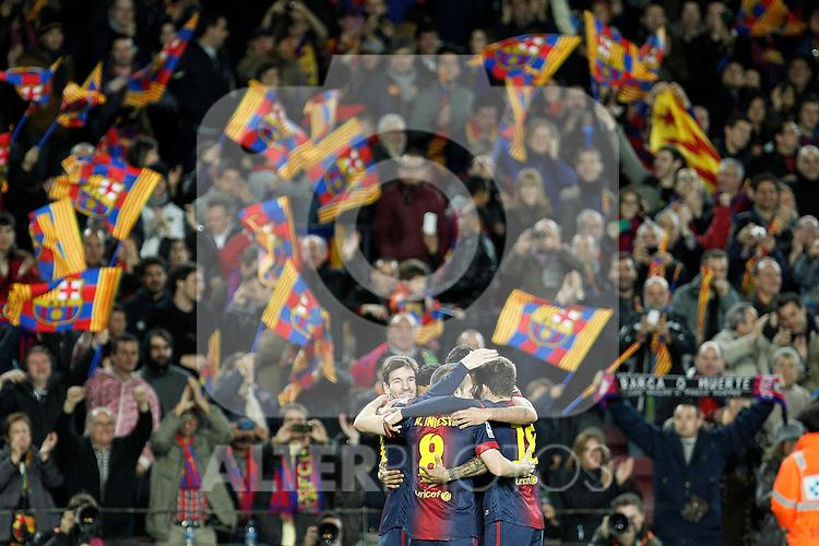 FC Barcelona's Leo Messi, Daniel Alves, Sergio Busquets and Andres Iniesta celebrate goal during La Liga match.December 16,2012. (ALTERPHOTOS/Acero)