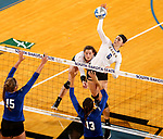 BROOKINGS, SD - SEPTEMBER 1: Macy Smith #6 from South Dakota State University winds up for a kill past Mattison DeGarmo #15 and Sydney Haynes #13 from CSU Bakersfield during their match Friday night at the Jackrabbit Invitational at Frost Arena in Brookings. (Photo by Dave Eggen/Inertia) (Photo by Dave Eggen/Inertia)