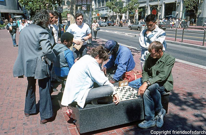 San Francisco:  Chess players, street furniture. Market at Powell Plaza.  Photo '89.