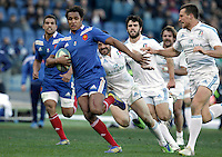 Rugby, torneo Sei Nazioni 2013: Italia vs Francia. Roma, stadio Olimpico, 3 febbraio 2013..France's Benjamin Fall makes his way to score a try during the Six Nations rugby union international match between Italy and France, at Rome's Olympic stadium, 3 February 2013..UPDATE IMAGES PRESS/Riccardo De Luca