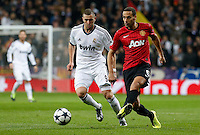 Real Madrid's Karim Benzema (l) and Manchester United's Rio Ferdinand during Champions League 2012/2013 match.February 12,2013. (ALTERPHOTOS/Alfaqui/Alex Cid-Fuentes)