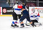 Stockholm 2015-09-04 Ishockey CHL Djurg&aring;rdens IF - EV Zug :  <br /> Djurg&aring;rdens Mikael Ahl&eacute;n i slagsm&aring;l med Zugs Johann Morant under matchen mellan Djurg&aring;rdens IF och EV Zug <br /> (Foto: Kenta J&ouml;nsson) Nyckelord:  Ishockey Hockey CHL Hovet Johanneshovs Isstadion Djurg&aring;rden DIF Zug slagsm&aring;l br&aring;k fight fajt gruff