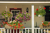 Flower pots on porch<br /> Rosseau<br /> Ontario<br /> Canada