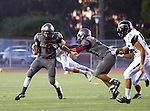 Torrance, CA 09/19/15 - Ryan Carroll (Torrance #2), Jeremiah Aiono (Torrance #28) and AJ Seymour (Peninsula #13) in action during the Peninsula Panthers - Torrance Tartars Varsity football game at Torrance High School