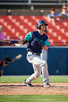 Lynchburg Hillcats shortstop Luke Wakamatsu (12) follows through on a swing during the first game of a doubleheader against the Frederick Keys on June 12, 2018 at Nymeo Field at Harry Grove Stadium in Frederick, Maryland.  Frederick defeated Lynchburg 2-1.  (Mike Janes/Four Seam Images)