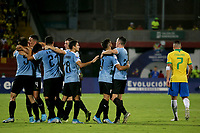 BUCARAMANGA - COLOMBIA, 06-02-2020: Manuel Ugarte (#5) de Uruguay celebra después de anotar el primer gol de su equipo durante partido entre Brasil U-23 Y Uruguay U-23 por el cuadrangular final como parte del torneo CONMEBOL Preolímpico Colombia 2020 jugado en el estadio Alfonso Lopez en Bucaramanga, Colombia. / Manuel Ugarte¨(#5) of Uruguay celebrates after scoring the first goal of his team during match between Brazil U-23 and Uruguay U-23 for the final quadrangular as part of CONMEBOL Pre-Olympic Tournament Colombia 2020 played at Alfonso Lopez stadium in Bucaramanga, Colombia. Photo: VizzorImage / Jaime Moreno / Cont