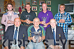 CAPT PRIZES: The Capt Timoth Kenny of Ballyheigue Golf Club, on Sunday evening presented Capts Prizes. Front l-r: Timothy Kenny (capt), Jimmy O'Sullivan (winner) and Mike Joe Quinlan (president). Back l-r: Pa Dineen (4th), Patrick Bunyan (3rd), Bernard Dineen (2nd) and Patrick Dineen (5th).
