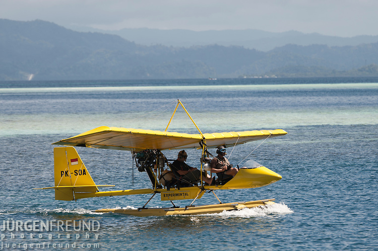 Drifter ultralight aircraft used by Max Ammer to survey Raja Ampat for Conservation International