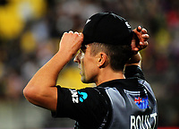 NZ's Trent Boult fields during during the International Twenty20 cricket match between the NZ Black Caps and England at Westpac Stadium in Wellington, New Zealand on Tuesday, 13 February 2018. Photo: Dave Lintott / lintottphoto.co.nz