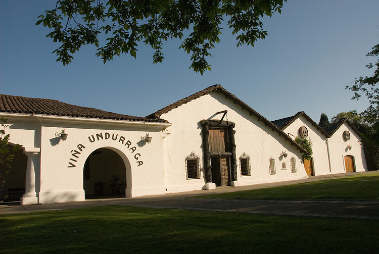 Chile Wine Country: Undurraga Winery, Vina Undurraga, near Santiago.  Horizontal of winery building..Photo #: ch407-32807..Photo copyright Lee Foster, 510-549-2202, www.fostertravel.com, lee@fostertravel.com.