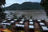 An empty terrasse along the Mekong river in Luang Prabang, Laos-2010
