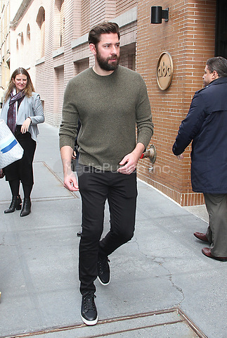 NEW YORK, NY - APRIL 12:  John Krasinski visits 'The View' and signs autographs for fans in New York, New York on April 12, 2018.  Photo Credit: Rainmaker Photo/MediaPunch