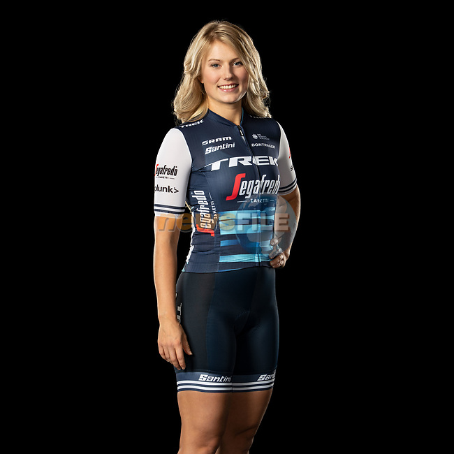 The London Rouleur Classic event provided the venue for today's unveiling of the new Trek-Segafredo men's and women's kits for the upcoming 2020 racing season. Lotta Lepistö (FIN) models the women's kit. Trek-Segafredo also announced that the partnership with Santini would continue for the next three years. 1st November 2019.<br /> Picture: Trek Factory Racing | Cyclefile<br /> <br /> <br /> All photos usage must carry mandatory copyright credit (© Cyclefile | Trek Factory Racing)