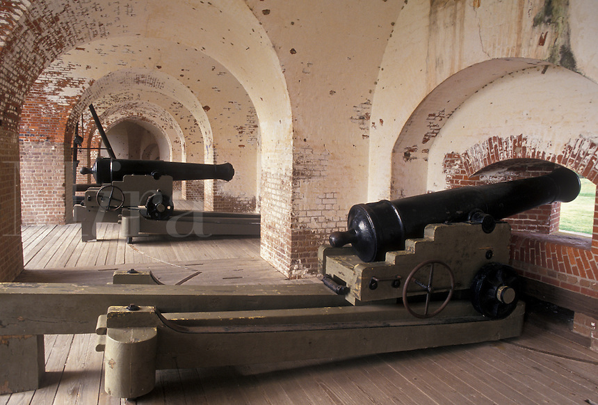 AJ3988, cannon, Fort Pulaski, Savannah, fort, Georgia, Fort Pulaski National Monument, Cannons displayed inside the fort at Fort Pulaski Nat'l Monument in the state of Georgia.