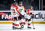 Stockholm 2014-01-08 Ishockey SHL AIK - Lule&aring; HF :  <br />   Lule&aring;s Daniel Gunnarsson har gjort 1-0 och jublar med lagkamrater Lule&aring;s Johan Fransson och Lule&aring;s Chris Abbott <br /> (Foto: Kenta J&ouml;nsson) Nyckelord:  jubel gl&auml;dje lycka glad happy