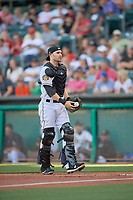 Anthony Bemboom (2) of the Salt Lake Bees on defense against the Sacramento River Cats at Smith's Ballpark on July 18, 2019 in Salt Lake City, Utah. The Bees defeated the River Cats 9-6. (Stephen Smith/Four Seam Images)