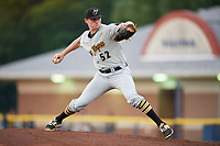 West Virginia Black Bears starting pitcher Michael Flynn (52) delivers a pitch during a game against the Batavia Muckdogs on June 18, 2018 at Dwyer Stadium in Batavia, New York.  Batavia defeated West Virginia 9-6.  (Mike Janes/Four Seam Images)