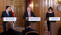 22/03/2020 - Secretary of State for Housing, Communities and Local Government Robert Jenrick, British Prime Minister Boris Johnson and Deputy Chief Medical Officer Jenny Harries at Coronavirus Press Briefing at Downing Street in London. Photo Credit: ALPR/AdMedia