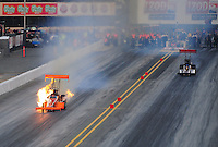 Jul. 29, 2011; Sonoma, CA, USA; NHRA top fuel dragster driver Mike Salinas has a fire during qualifying for the Fram Autolite Nationals at Infineon Raceway. Mandatory Credit: Mark J. Rebilas-