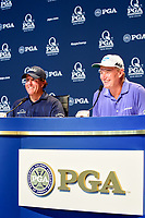 Phil Mickelson (USA) and Ernie Els (RSA) during press conference honoring 100 combined major tournaments during Tuesday's preview of the PGA Championship  at Quail Hollow in Charlotte, North Carolina. 8/8/2017.<br /> Picture: Golffile | Ken Murray<br /> <br /> <br /> All photo usage must carry mandatory copyright credit (&copy; Golffile | Ken Murray)