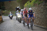 Julian Alaphilippe (FRA/Etixx-QuickStep) &amp; Tony Gallopin (FRA/Lotto-Soudal) lead the way in the last kilometer while Petr Vakoc (CZE/Etixx-QuickStep) is about to strike...<br /> <br /> 56th De Brabantse Pijl - La Fl&egrave;che Braban&ccedil;onne (1.HC)
