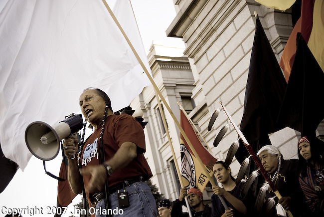 Russell Means speaks before a crowd at Transform Columbus Day rally in Denver Colorado on October 6th, 2007.