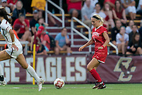 NEWTON, MA - AUGUST 29: Chloee Sagmoe #4 of Boston University dribbles at midfield during a game between Boston University and Boston College at Newton Campus Field on August 29, 2019 in Newton, Massachusetts.