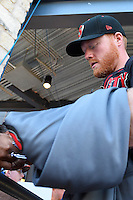 Nashville Sounds catcher Blake Forsythe (15) signs autograph for a fan before a baseball game, Saturday May 02, 2015 in Round Rock, Tex. Express defeated Sounds 5-4. (Mo Khursheed/TFV Media via AP images)