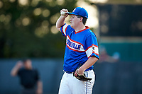 Mooresville Post 66 starting pitcher Jaxon Mays (26) adjusts his cap during the game against Kannapolis Post 115 during an American Legion baseball game at Northwest Cabarrus High School on May 30, 2019 in Concord, North Carolina. Mooresville Post 66 defeated Kannapolis Post 115 4-3. (Brian Westerholt/Four Seam Images)