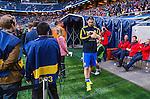 Solna 2014-06-01 Fotboll Landskamp , Sverige - Belgien :  <br /> Sveriges Zlatan Ibrahimovic p&aring; v&auml;g till avbytarb&auml;nken innan matchen<br /> (Photo: Kenta J&ouml;nsson) Keywords:  Sweden Sverige Friends Arena Belgium Belgien portr&auml;tt portrait