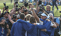 Ian Poulter (Team Europe) celebrates during Sunday's Singles, at the Ryder Cup, Le Golf National, Île-de-France, France. 30/09/2018.<br /> Picture David Lloyd / Golffile.ie<br /> <br /> All photo usage must carry mandatory copyright credit (© Golffile | David Lloyd)
