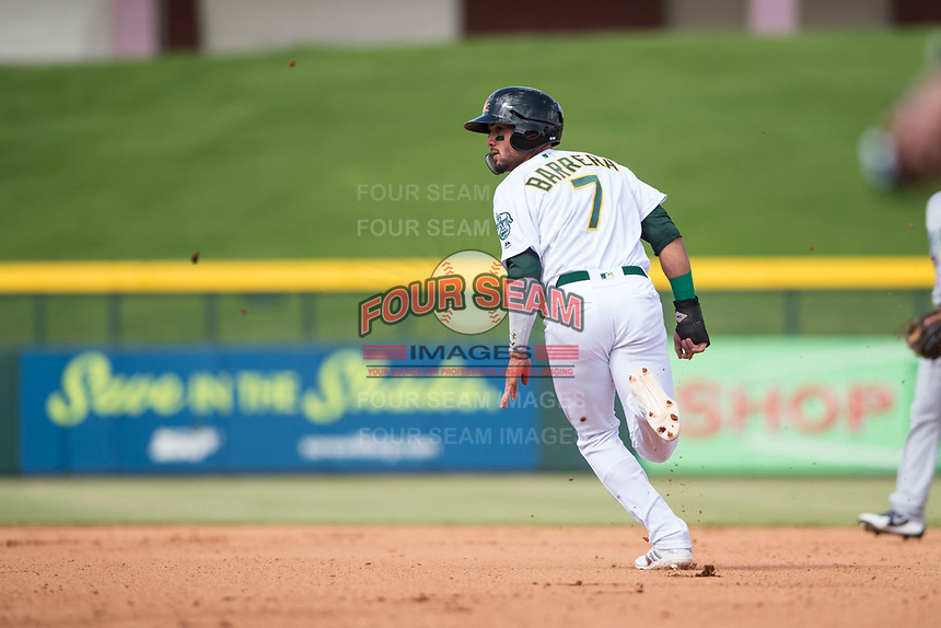 Mesa Solar Sox right fielder Luis Barrera (7), of the Oakland Athletics organization, runs to second base during an Arizona Fall League game against the Peoria Javelinas at Sloan Park on October 11, 2018 in Mesa, Arizona. Mesa defeated Peoria 10-9. (Zachary Lucy/Four Seam Images)