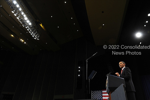 West Point, NY - December 1, 2009 -- United States President Barack Obama speaks about his decision to increase U.S. troop levels in Afghanistan by about 30,000 during a speech at the U.S. Military Academy at West Point, New York, on Tuesday, December 1, 2009. The buildup is targeted to reverse the Taliban advances in the country and to train Afghan soldiers and police.     .Credit: Roger L. Wollenberg - Pool via CNP