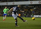 9th February 2018, The Den, London, England; EFL Championship football, Millwall versus Cardiff City; Steve Morison of Millwall with a volley  but his shot hits the post