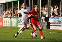 Partizan Belgrade's Nemanja Miletic vies for possession with Connah's Quay Nomads' Declan Poole<br /> <br /> Photographer Kevin Barnes/CameraSport<br /> <br /> UEFA Europa League 2nd Qualifying Round 1st Leg - Connah's Quay Nomads v Partizan Belgrade - Thursday July 25th 2019 - Belle Vue Stadium - Rhyl<br />  <br /> World Copyright © 2019 CameraSport. All rights reserved. 43 Linden Ave. Countesthorpe. Leicester. England. LE8 5PG - Tel: +44 (0) 116 277 4147 - admin@camerasport.com - www.camerasport.com