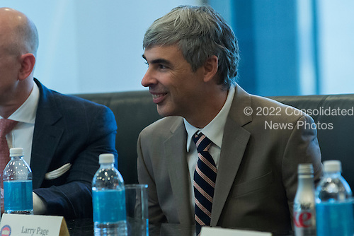 Alphabet CEO Larry Page is seen in attendance at a meeting of technology chiefs in the Trump Organization conference room at Trump Tower in New York, NY, USA on December 14, 2016. <br /> Credit: Albin Lohr-Jones / Pool via CNP